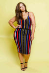 Plus Size Stripe Matching Sets