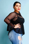Plus Size Bell Sleeved See Through Mesh See Through Top