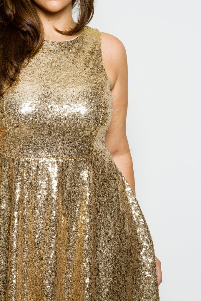 Plus Size Sleeveless Sequin Skater Dress Slayboo