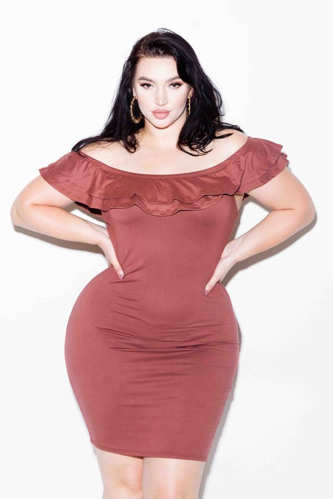 Plus Size Sexy Off Shoulder Glam Ruffle Dress
