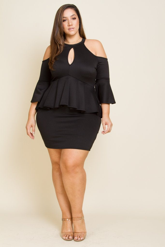 Plus Size Cold Shoulder Midi Dress