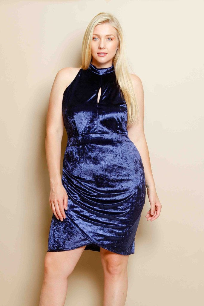 Plus Size Soft Velvet Mock Neck Mini Dress