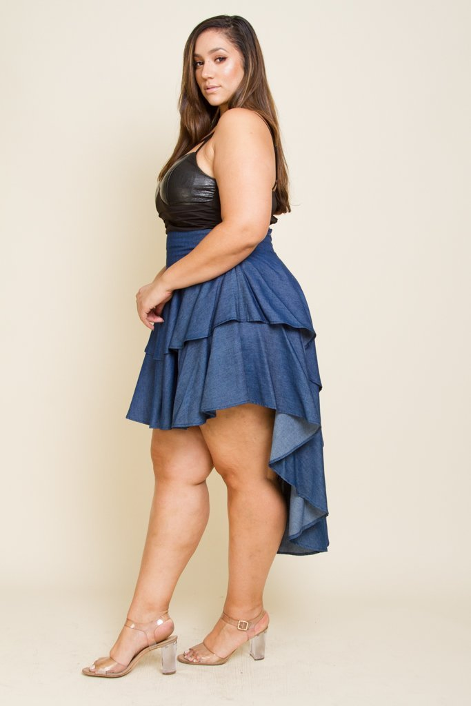 Plus Size Ruffle Hi Low Denim Skirt