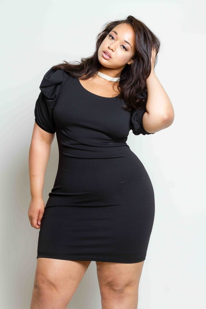 148bf89f0d48f Plus Size Sexy Bodycon Dress with Exaggerated Sleeves