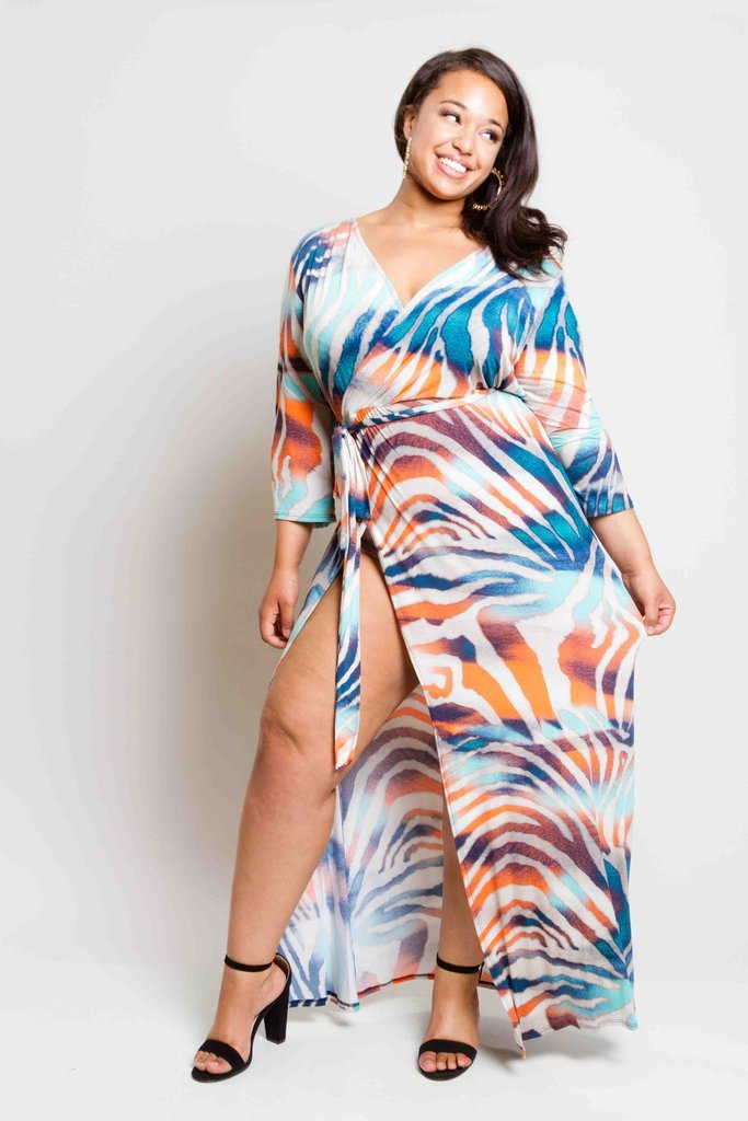Plus Size Bulgari Unique Print Maxi Dress
