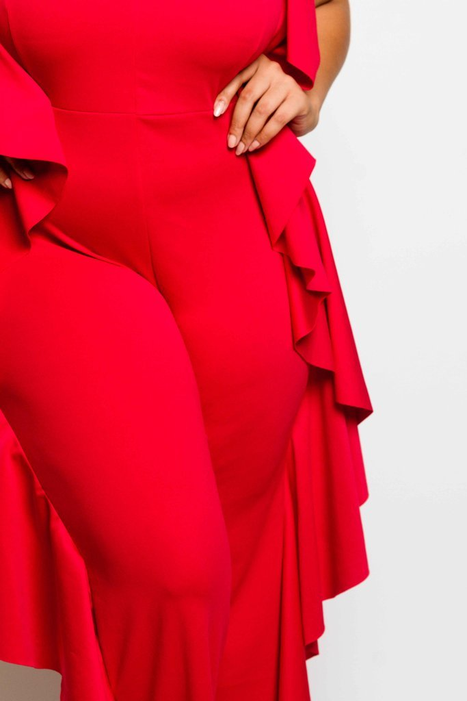 Plus Size Glam Ruffle Jumpsuit