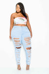 Plus Size Razor Trendy Distressed Skinny Jeans