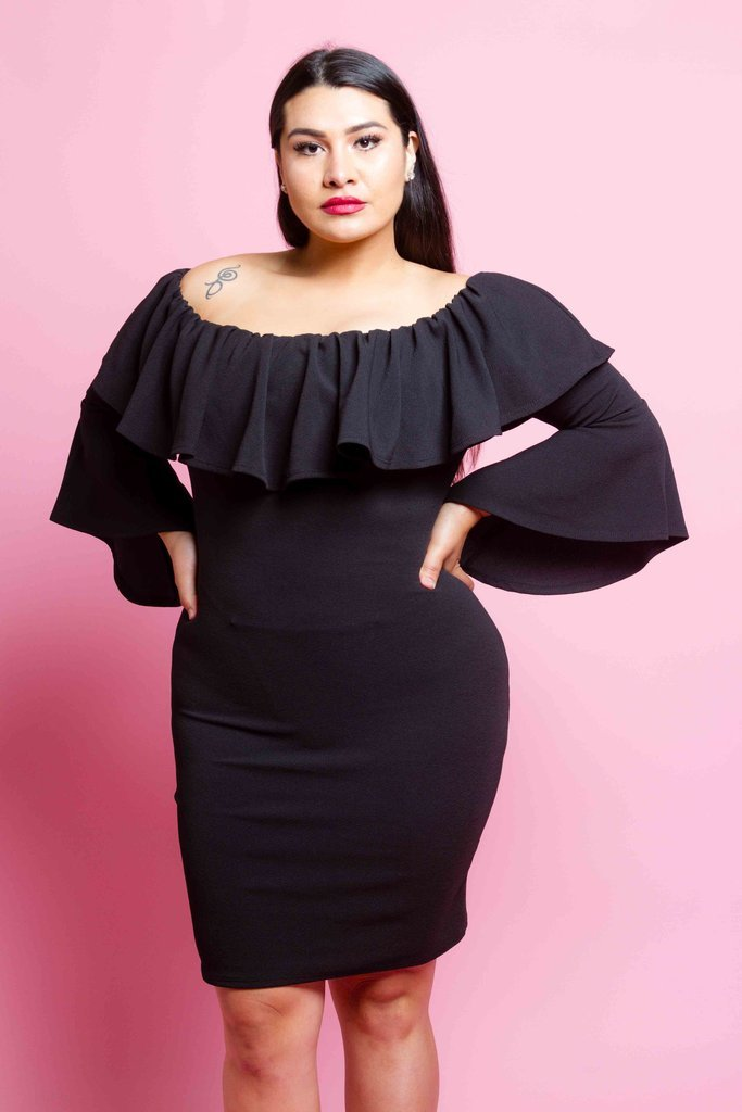 Plus Size Sexy Off Shoulder Bell Sleeve Dress