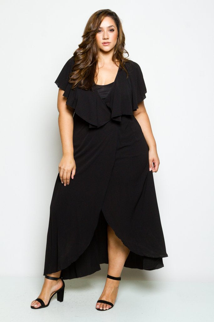 Plus Size Chiffon Glam Ruffle Wrap Dress