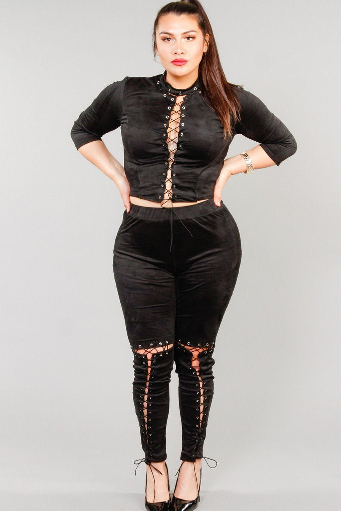 Plus Size Suede Sexy Lace Up Matching Sets