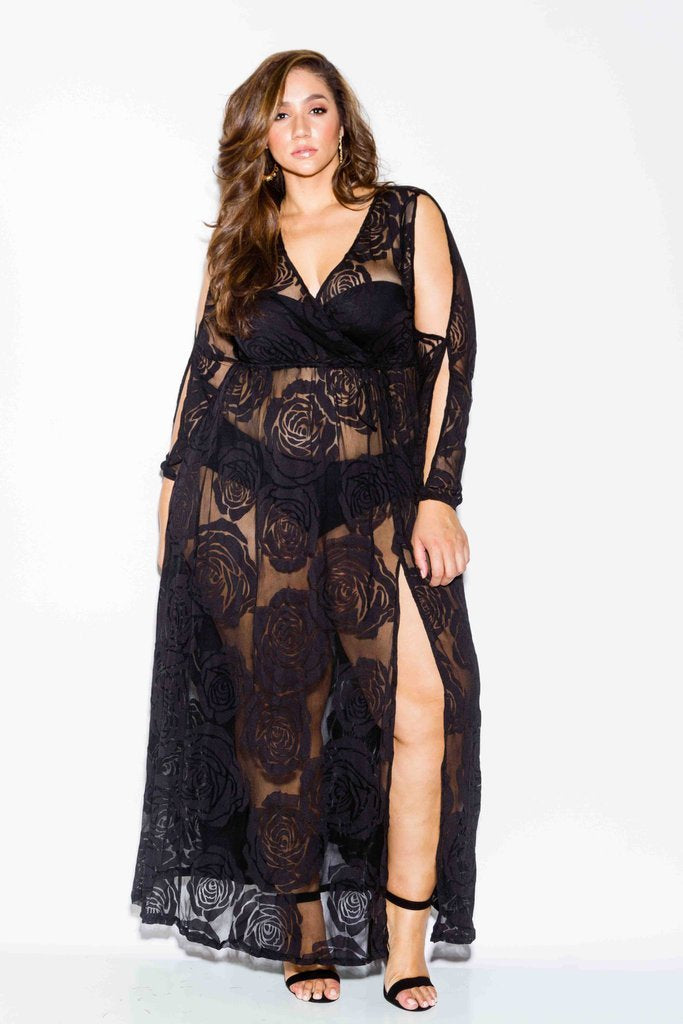 7a18f015dae Plus Size Rose See Through Mesh Dress – slayboo