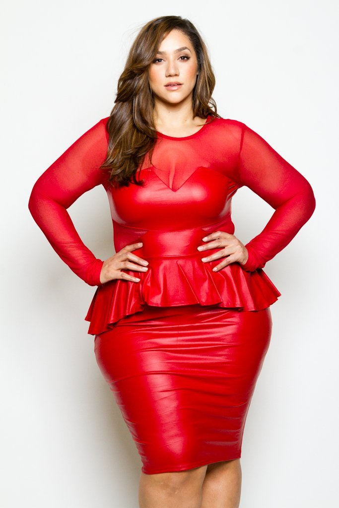 128619442 Plus Size See Through Mesh and Sleek Faux Leather Sexy Bodycon Dress ...