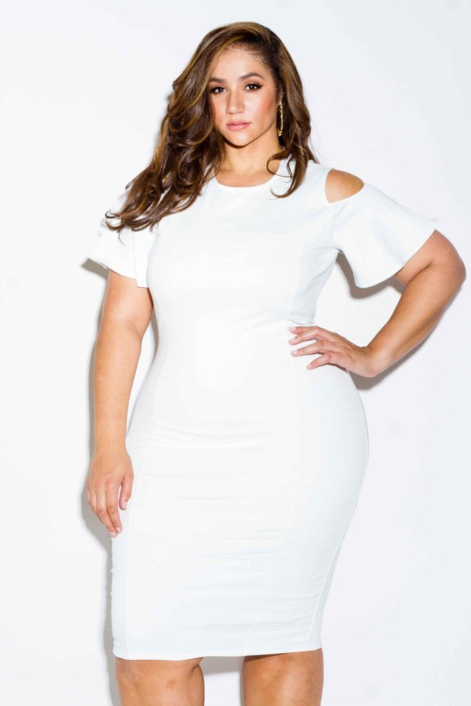 Plus Size Midi Dress with Cut Out Shoulder