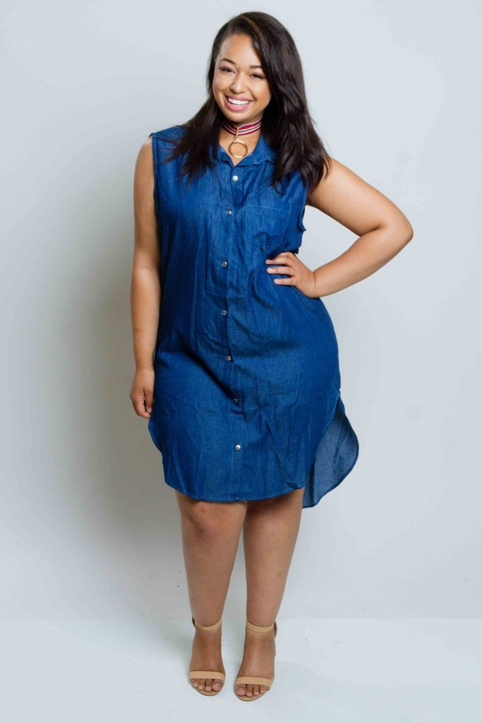 Plus Size Button Down Chambray Dress [SALE]