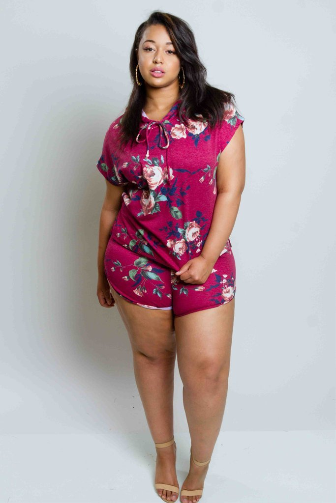 Plus Size Gorgeous Floral Training Matching Set