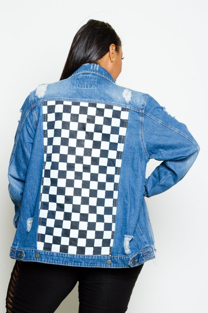 Plus Size Checkered Unique Print Denim Jacket