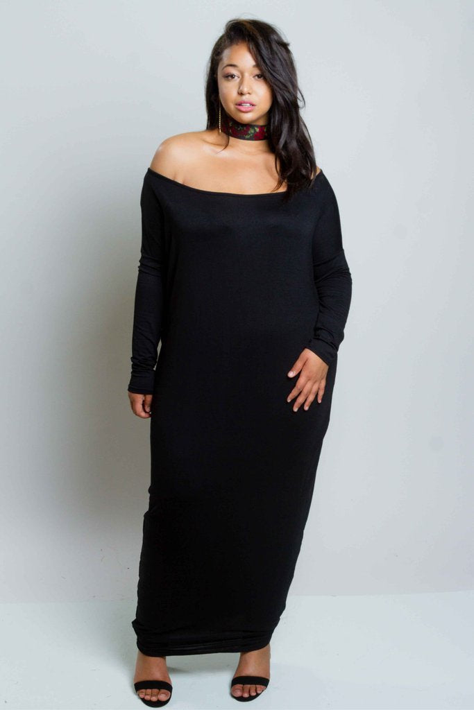 Plus Size Sexy Off Shoulder Long Sleeved Jersey Maxi Harem Dress