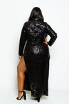 Plus Size Long Sleeve Full Sparkling Sequin  Maxi Dress
