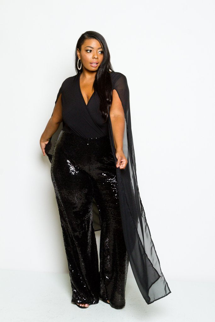 Plus Size Elegant Sheer Sequin Cape Sleeve Jumpsuit Sale Slayboo