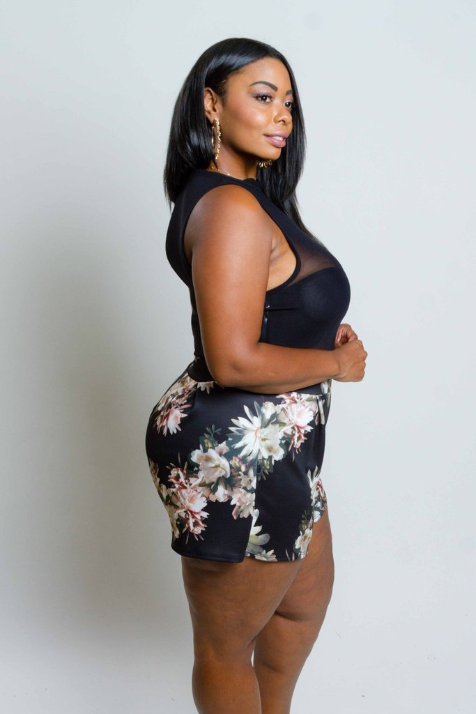 Plus Size See Through Mesh Top Gorgeous Floral Romper