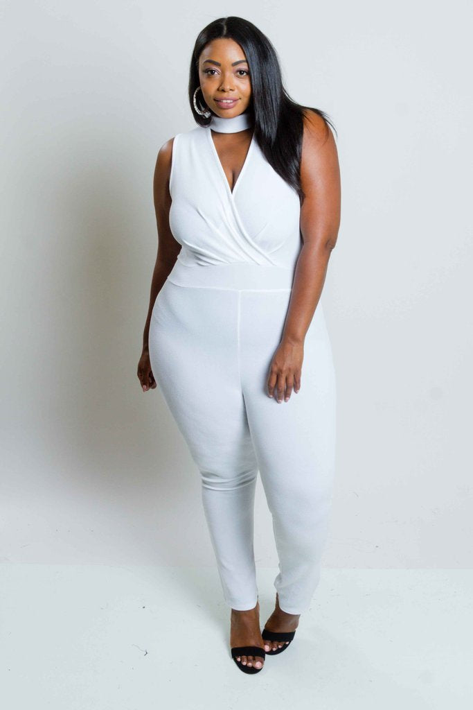 Plus Size Choker Jumpsuit