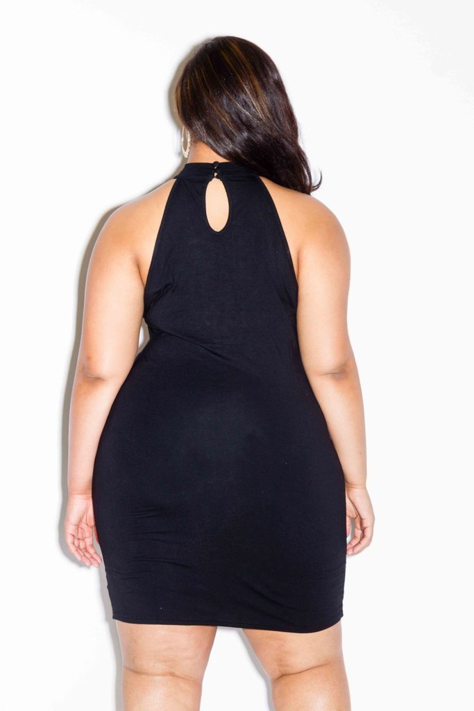 Plus Size Mock Neck Sexy Lace Up Dress