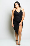 Plus Size Shimmer Slit Dress
