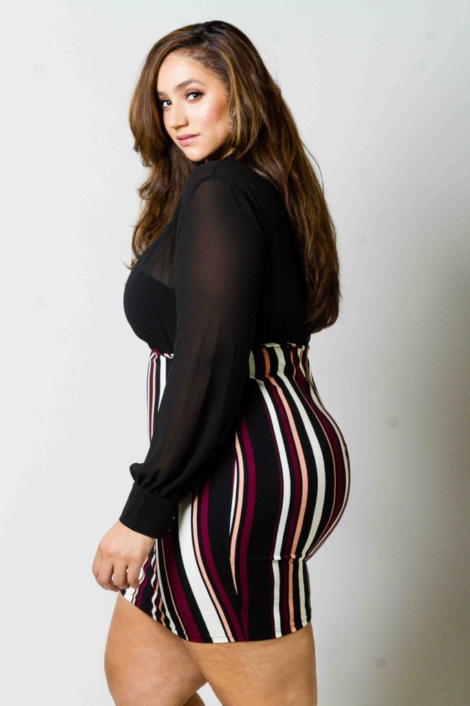 Plus Size Stripe Dress with Elegant Sheer Top