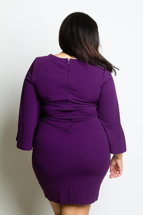 Plus Size Elegance Bell Sleeve Mini Dress