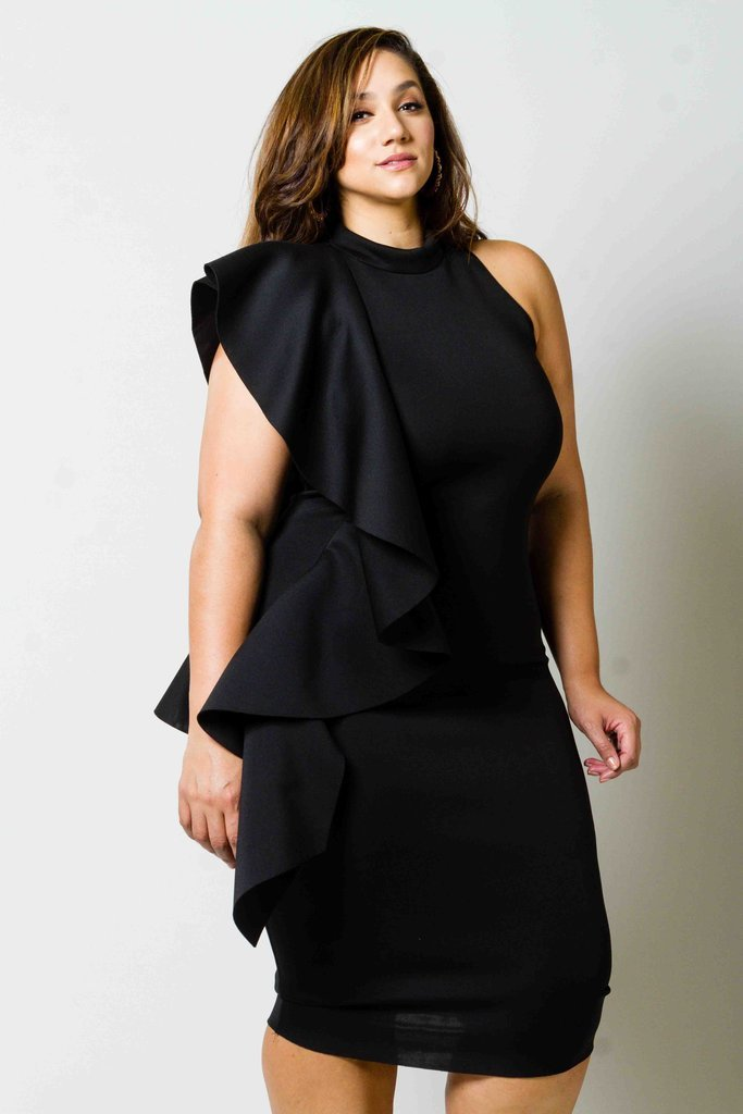 Plus Size Cascade Glam Ruffle Dress