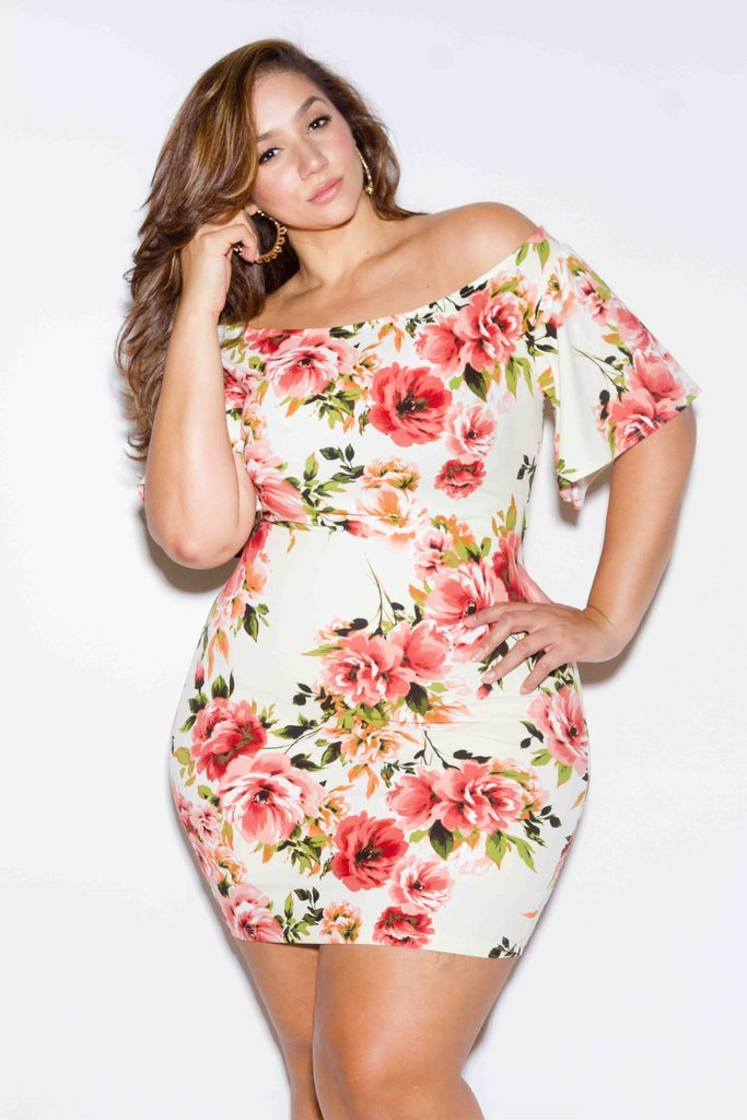 Plus Size Sexy Off Shoulder Gorgeous Floral Dress – slayboo ebdf51117