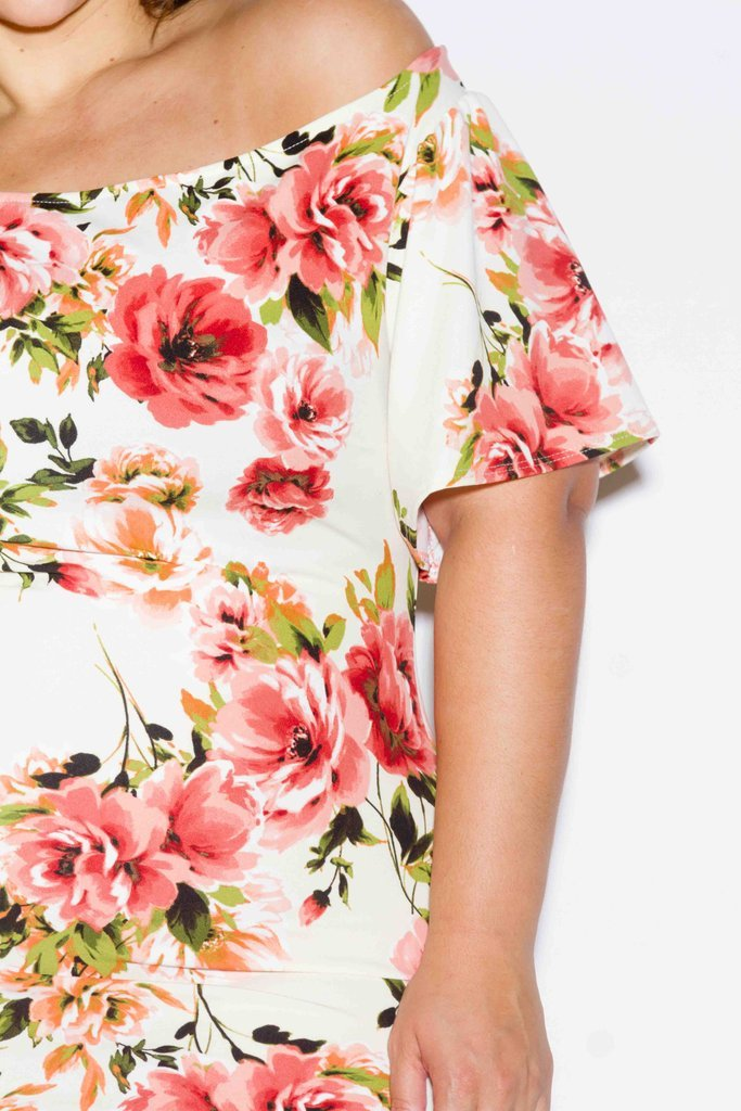Plus Size Sexy Off Shoulder Gorgeous Floral Dress