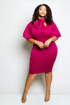 Plus Size Layered Sleeve Dress with Bow Tie