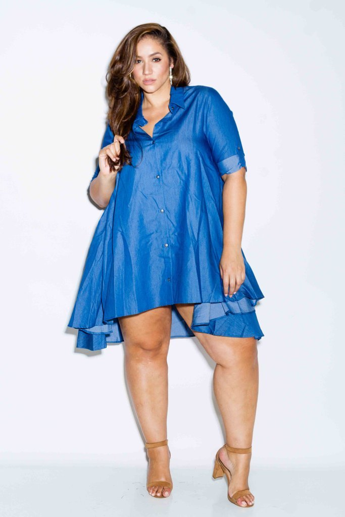 Plus Size Chambray Shirt Dress
