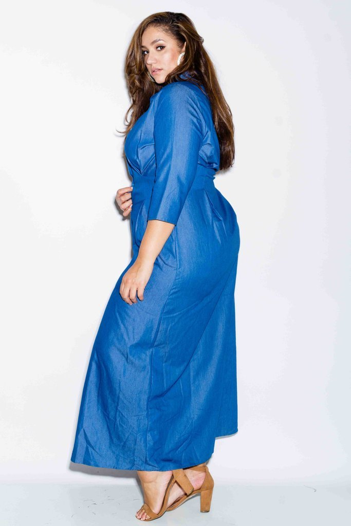Plus Size Maxi Chambray Shirt Dress – slayboo
