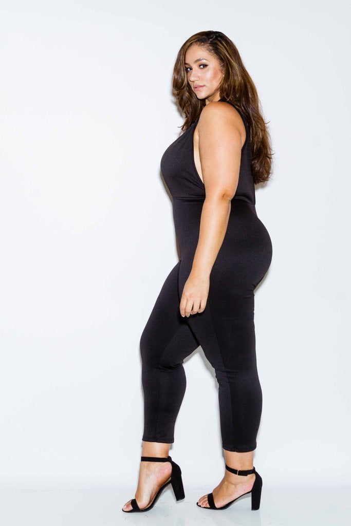 Plus Size Jumpsuit with Cutout Detail