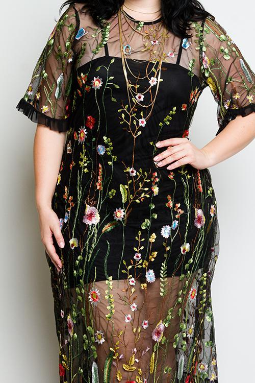 d115f4ea3db Plus Size See Through Mesh Dress with Gorgeous Floral Embroidery ...