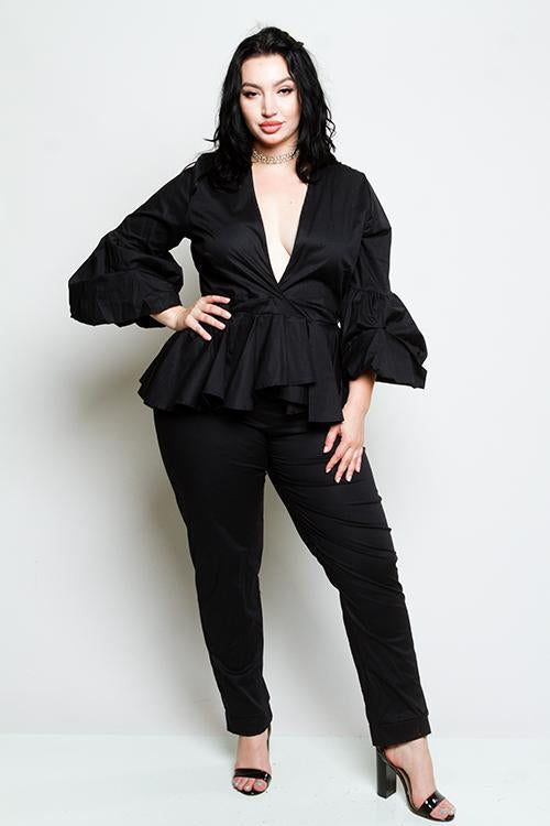 Plus Size Peplum Jumpsuit [SALE]