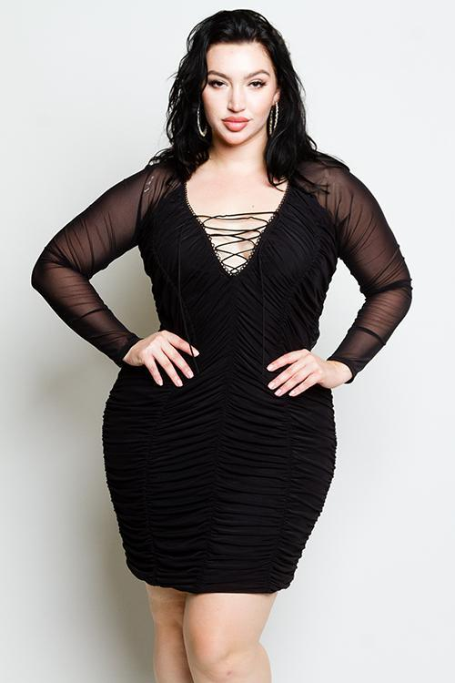 5d2e0dbe8ac Plus Size Sexy Lace up See Through Mesh Detailed Dress – slayboo