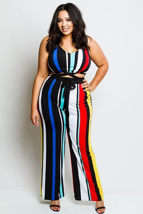 Plus Size Open Waist Colorful Stripe Jumpsuit