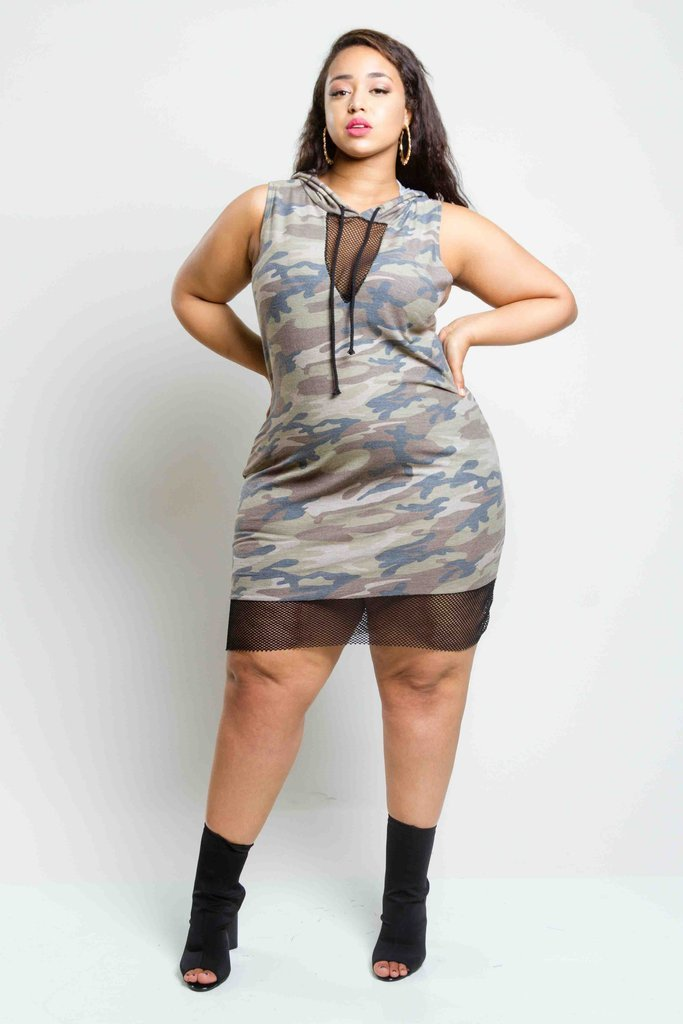 Plus Size Trendy Camo Hooded Dress