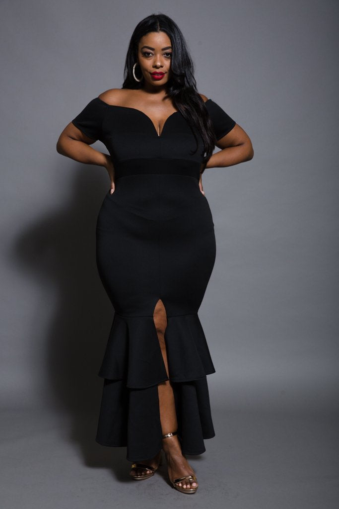Plus Size Mermaid Ruffle Maxi Dress – slayboo