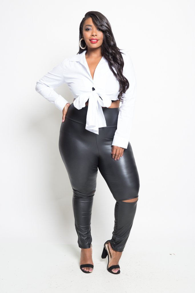 Plus Size Classic Cropped Long Sleeve Top