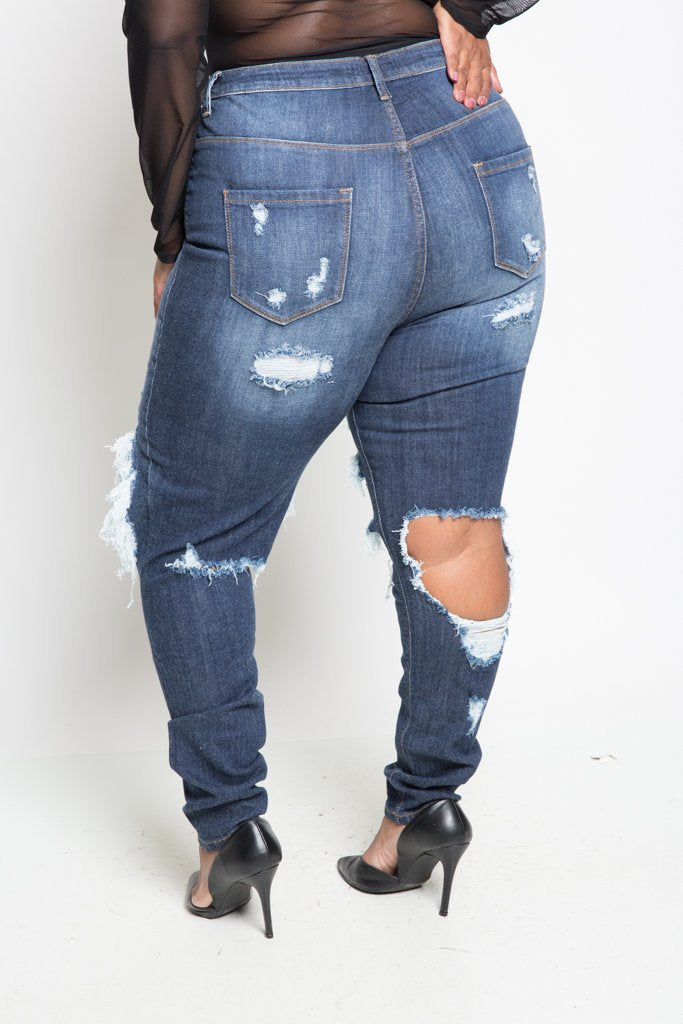 Plus Size Bold High Waist Destroyed Denim [SALE]