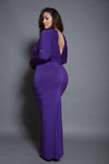 Plus Size Long Sleeve Back Low-V Maxi Dress