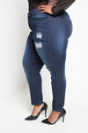 Plus Size High Rise Distressed Skinny Jeans