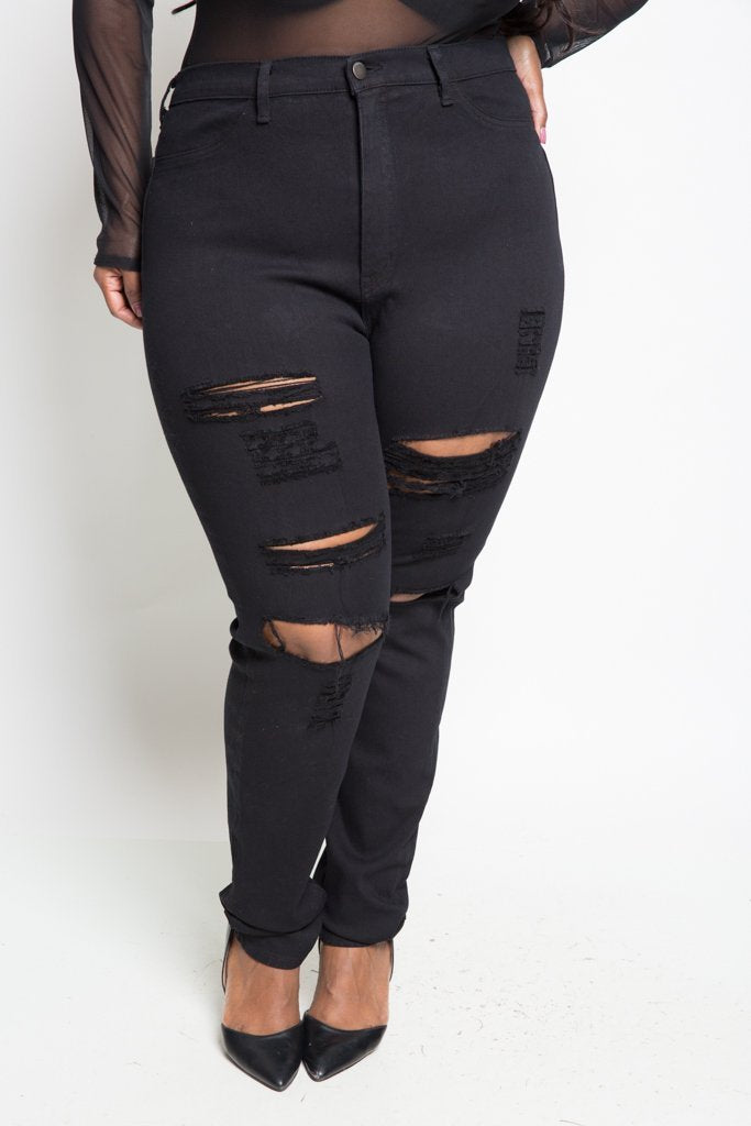 Plus Size Black High Waist Ripped Jeans