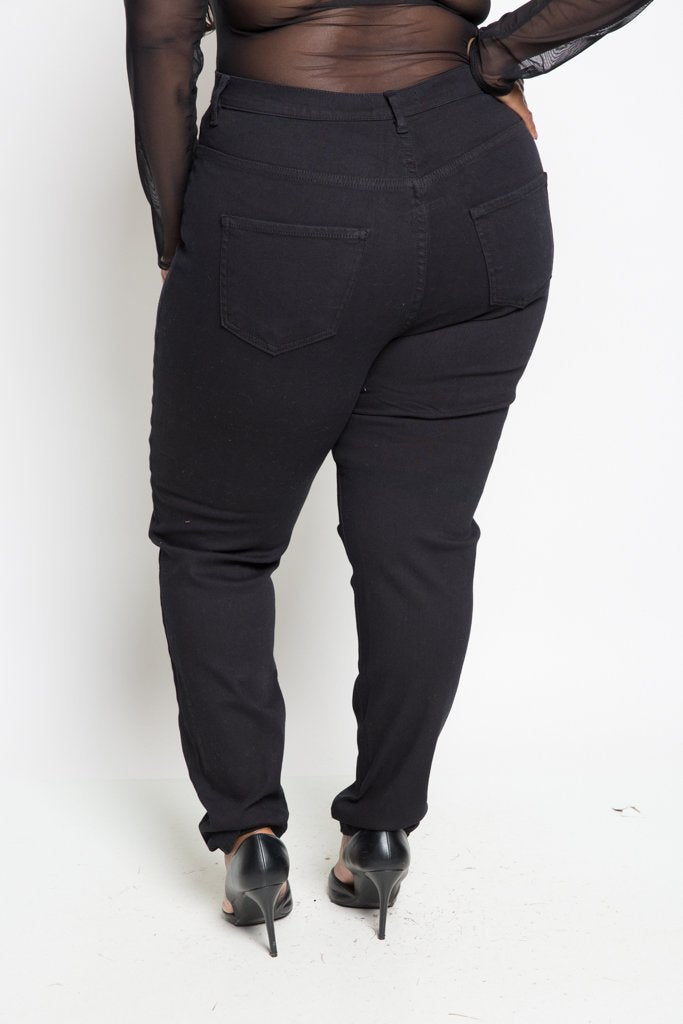 dc1a02f8657 Plus Size Black High Waist Ripped Jeans – slayboo