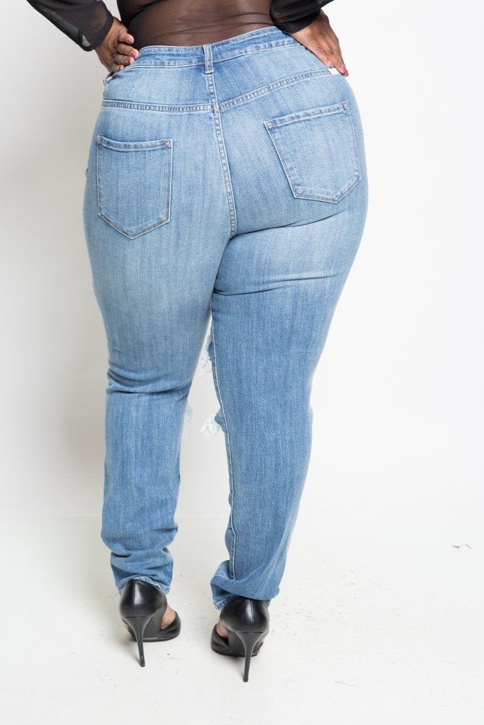 0987c93bc4e Plus Size High Rise Destroyed Light Blue Skinny Jeans – slayboo