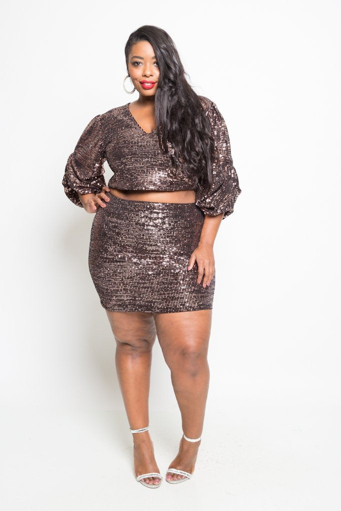 e5b0bdd6f9f Plus Size Sparkling Sequin Crop Top Mini Skirt Set  SALE  – slayboo